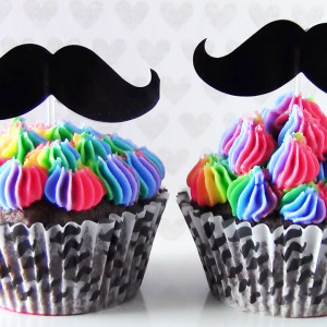 Rainbow Mustache Cupcakes