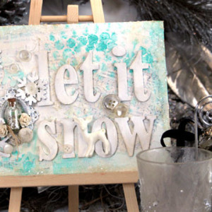 Let It Snow Altered Canvas