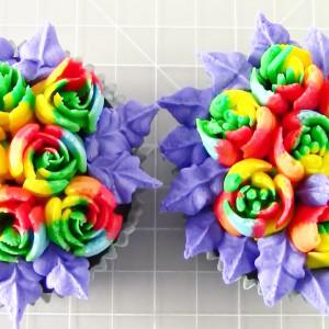 Rainbow Rose Cupcakes