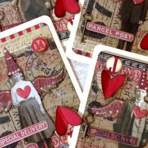Mixed Media Playing Card Look Valentines
