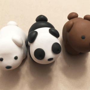We Bare Bears Grizzly, Panda, Ice Bear Clay Charms